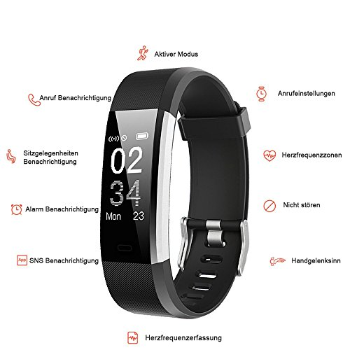yamay fitness armband uhr mit pulsmesser wasserdicht ip67. Black Bedroom Furniture Sets. Home Design Ideas